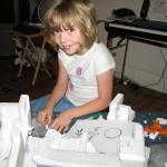 Sylvia, picture here using her Dad's sandpaper he got for his birthday. A semi-fine grit does an awesome job at shaping