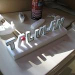 My youngest daughter now get's her name in aluminum! The red on the A is candle wax after a mishap with the knife...