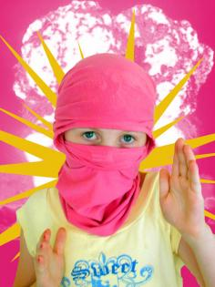 I am the pink and yellow ninja. Even though my shirt says sweet.. it means dangerous!